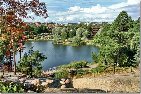 Вид на город Котка с вершины городского парка