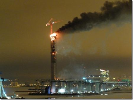 Пожар на пилоне моста ЗСД